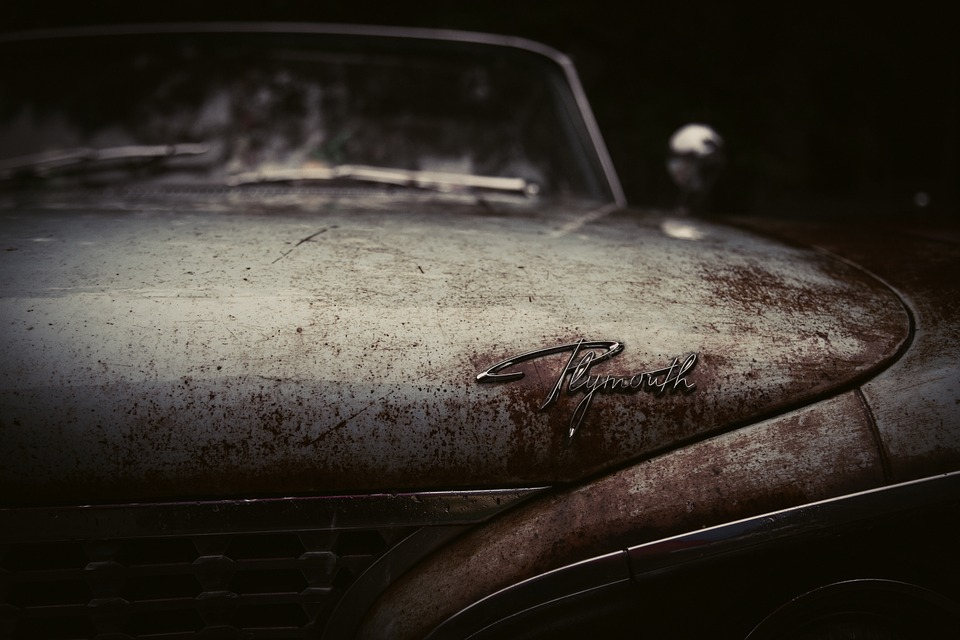 Plymouth, Oldtimer, Rusty, Label, Brand, Manufacturer