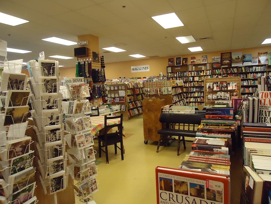 bookstore, books, display, shop, store, shelves, bookshop, merchandise, cards, postcards