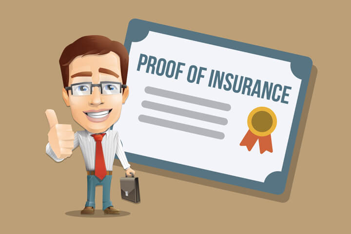 Insurance agent showing thumbs up in front of proof of insurance certificate flat concept image